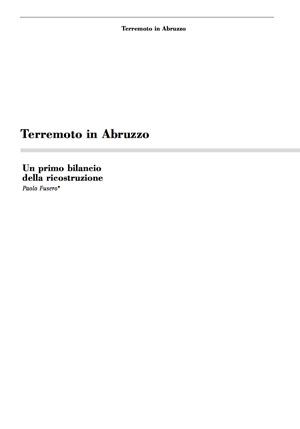 Paolo Fusero - Un primo bilancio terremoto in Abruzzo
