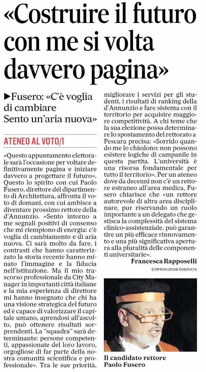 Intervista del Messaggero a Paolo Fusero prima delle elezioni per la carica di Rettore dell'università G. d'Annunzio